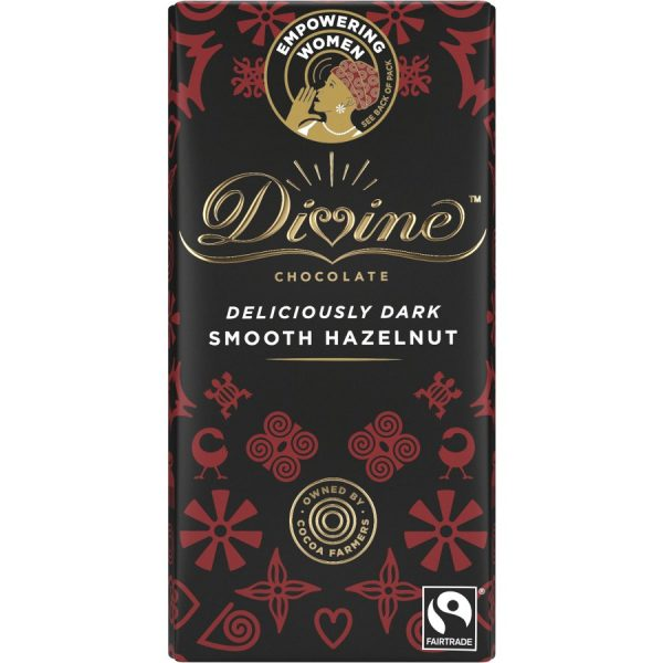 DIVINE CHOCOLATE DELICIOUSLY DARK SMOOTH HAZELNUT 90G