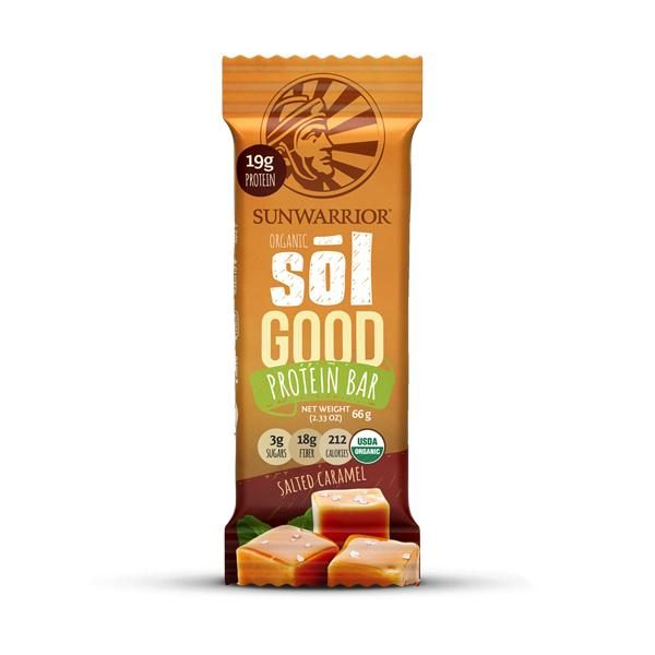 SUNWARRIOR SOLGOOD SALTED CARAMEL PROTEIN BAR 66G