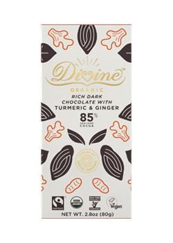 Divine Eko Mörk Choklad med Gurkmeja och Ingefära
