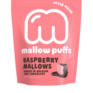 MALLOW PUFFS I CHOKLAD RASPBERRY MARSHMALLOWS
